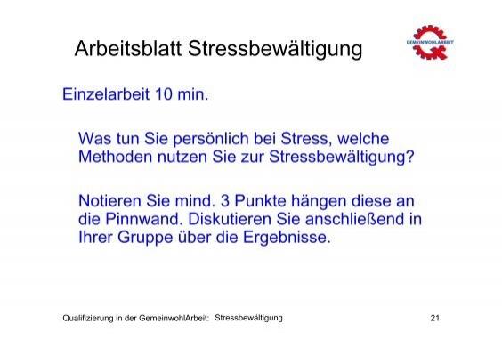Arbeitsblatt Stresstest (