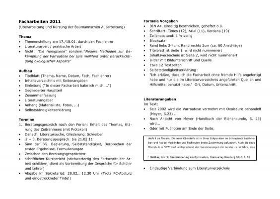 Infos Facharbeit Zusammenfassung Evangelisches Gymnasium