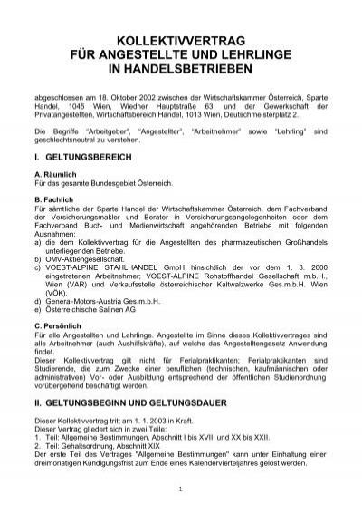 Kollektivvertrag Fã¼r Angestellte Und Lehrlinge In Handelsbetrieben