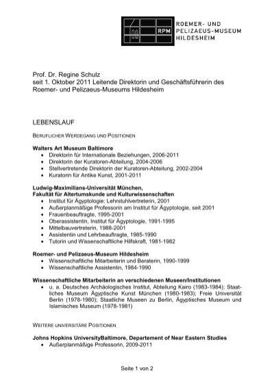 Lebenslauf Prof. Dr. Martin Schulz - Bundesvereinigung Deutscher ...