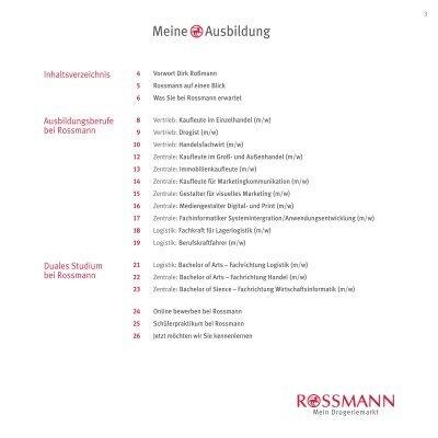 meine ausbildung 3 inhalt - Rossmann Bewerbung Online