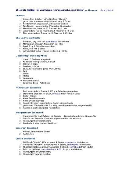 Checkliste Fieldday für Verpflegung, Küchenausrüstung und Sanitär