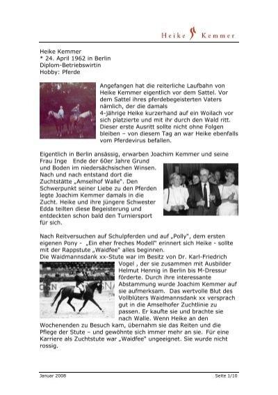 Pferde Angefangen Hat Die Reiterliche Laufbahn Heike Kemmer