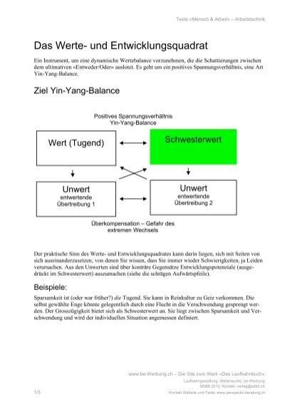 das werte und entwicklungsquadrat das laufbahnbuch - Beispiele Fur Werte