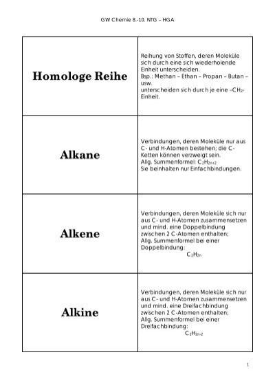 Alkane, Alkene, Alkine