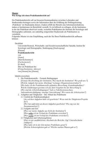 Muster Wie Fertige Ich Einen Praktikumsbericht An Universitaƒa T