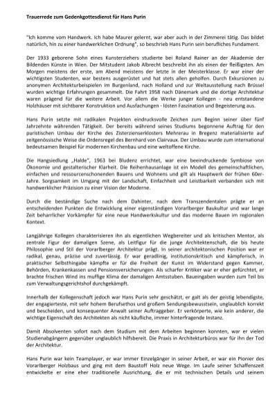 trauerrede zum gedenkgottesdienst fr hans purin zv vorarlberg - Trauerreden Beispiele