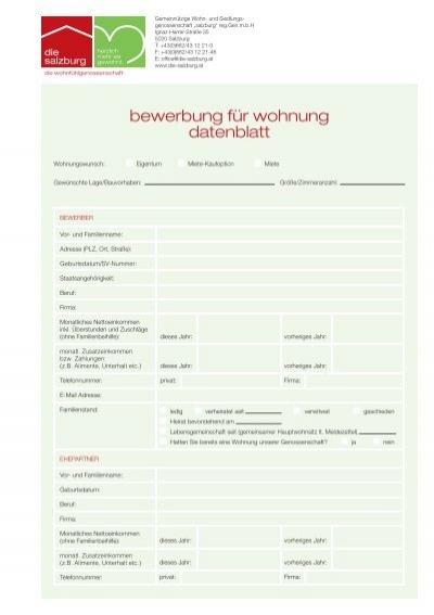 bewerbung um eine wohnung die salzburg - Bewerbung Fur Eine Wohnung