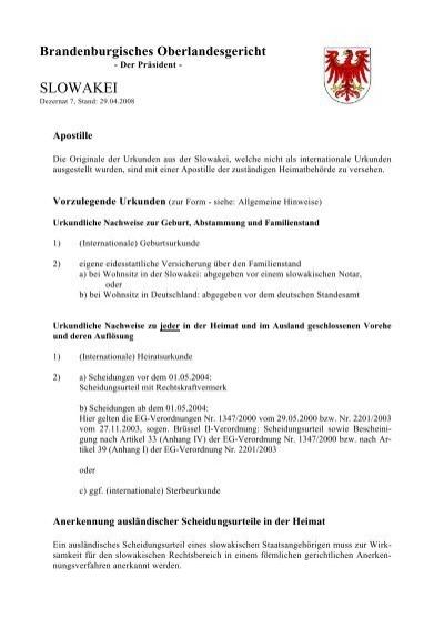 SLOWAKEI - Brandenburgisches Oberlandesgericht