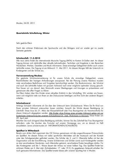 Quartalsbrief Winter Schule Muolen