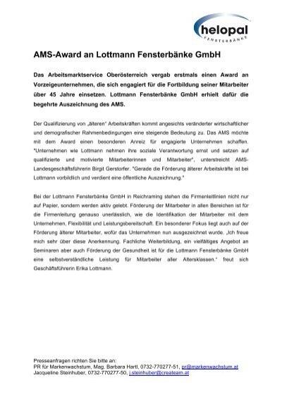 AMS-Award an Lottmann Fensterbänke GmbH - Helopal