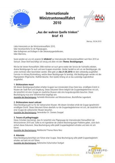 Dritte Infobrief Fachstelle Ministranten