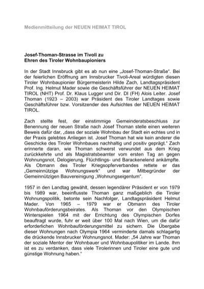 Medienmitteilung Der Neuen Heimat Tirol Neue Heimat Tirol