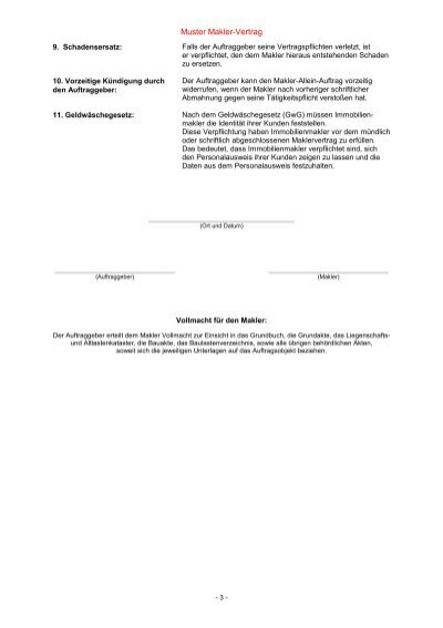 Beratungsprotokoll Und Maklervertrag Privat Vertrge Sga Mietvertrag