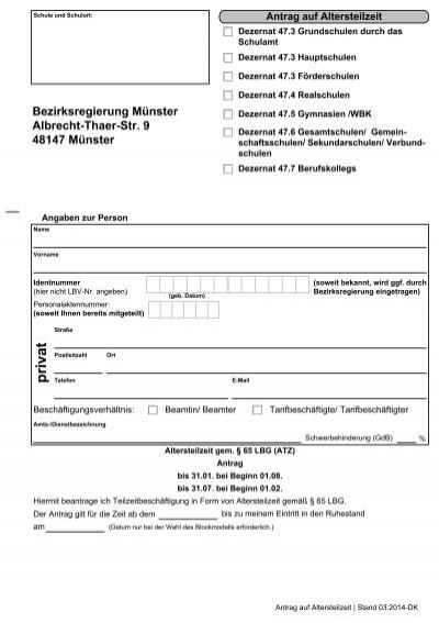 Antrag Auf Altersteilzeit Gem A 65 Lbg Atz Bezirksregierung