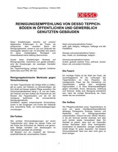 Reinigungsempfehlung von Desso Teppich  Dessocom  EN