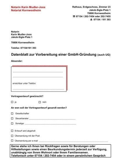 Datenblatt Zur Vorbereitung Einer Gmbh Grã¼ndung Auch Ug