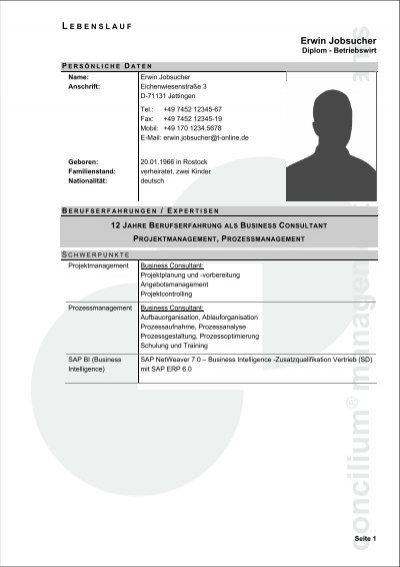Lebenslauf Berater 01 Conciliuma Management Consultants