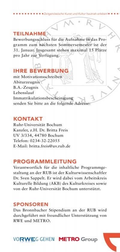 zeitgenssische kunst un - Uni Bochum Bewerbung