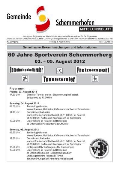 Mitteilungsblatt Gemeinde Schemmerhofen