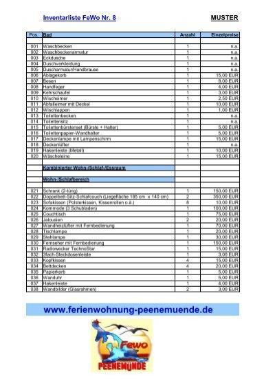fewo 8 peenem374nde inventarlistexls ferienwohnungen - Inventarliste Muster