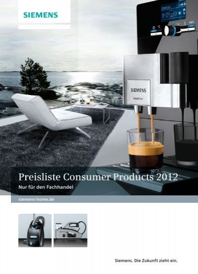 preisliste consumer products 2012 siemens hausger te. Black Bedroom Furniture Sets. Home Design Ideas