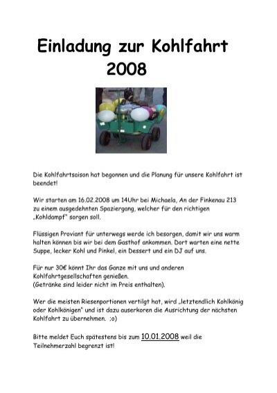 einladung zur kohlfahrt 2008 - snow 'n', Einladung