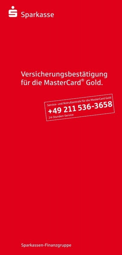 s sparkasse versicherungsbest tigung f r die mastercard gold. Black Bedroom Furniture Sets. Home Design Ideas