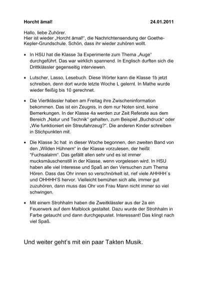 23 Januar 2011 Goethe Kepler Grundschule