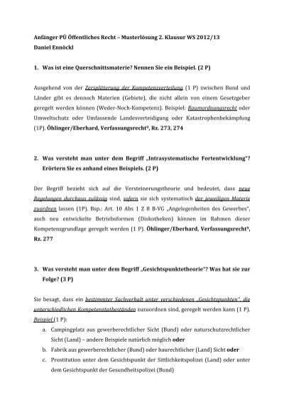 musterlsung 2klausur - Offentliches Recht Beispiele