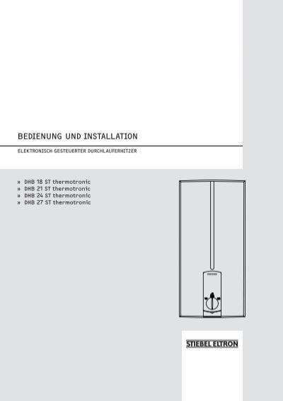 bedienung und installation stiebel eltron. Black Bedroom Furniture Sets. Home Design Ideas