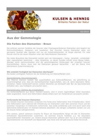 Die Farben Des Diamanten   Braun   KULSEN U0026 HENNIG
