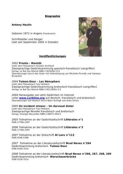 Biographie Antony Heulin Geboren 1972 In Angers Frankreich