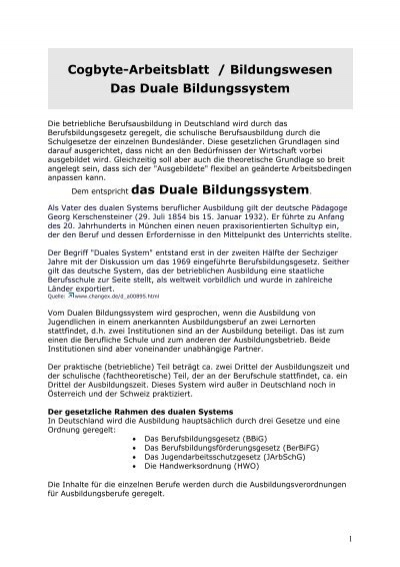 Cogbyte-Arbeitsblatt / Bildungswesen
