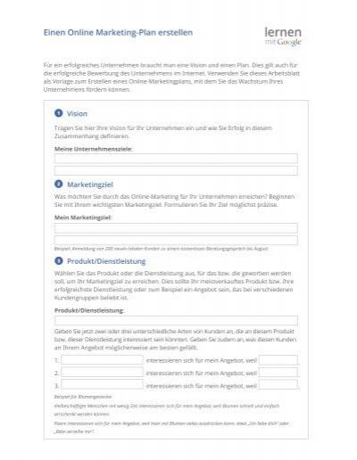 Einen Online Marketing Plan Erstellen