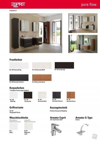 Esprit pure flow - Typenliste - Puris Badmöbel & Esprit home