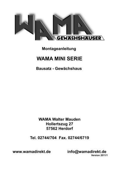 Montageanleitung Wama Mini Serie Bausatz Gewachshauser