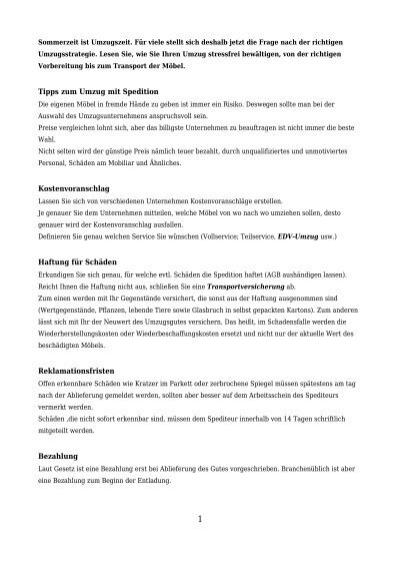Tipps Zum Umzug Mit Spedition Kostenvoranschlag Bernhard Hopf