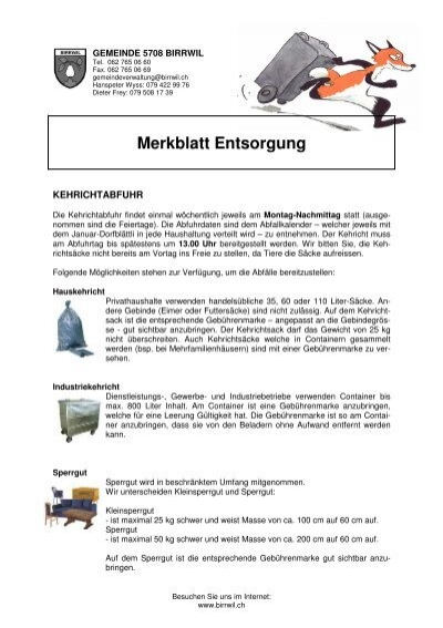 Merkblatt entsorgung birrwil - Mobel entsorgung gratis ...
