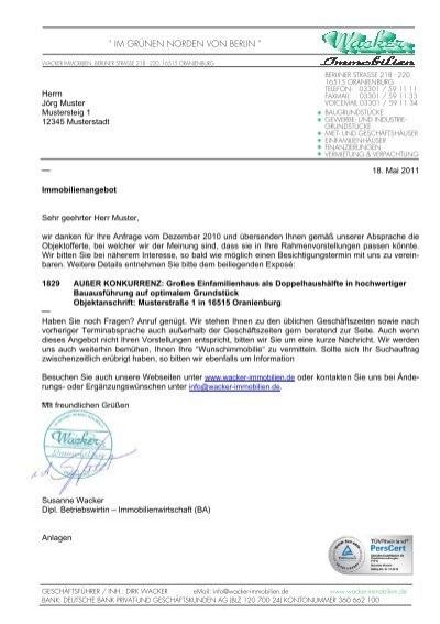 Angebot Nr 1829 Bei Rückfragen Bitte Wacker Immobilien