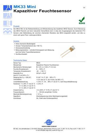 Feuchte Sensor Kapazitiv   0-100/%  Feuchtigkeitssensor