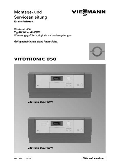 vitotronic 050 montage und serviceanleitung 3 liter. Black Bedroom Furniture Sets. Home Design Ideas