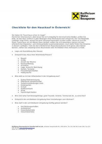 checkliste f r den hauskauf in sterreich raiffeisen bausparkasse. Black Bedroom Furniture Sets. Home Design Ideas