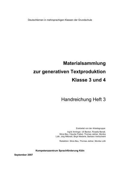 Materialsammlung zur generativen Textproduktion Klasse 3 und 4 ...