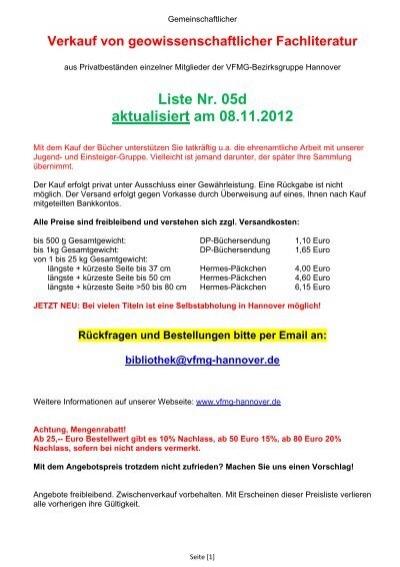 Antiquariat Vfmg Bezirksgruppe Hannover