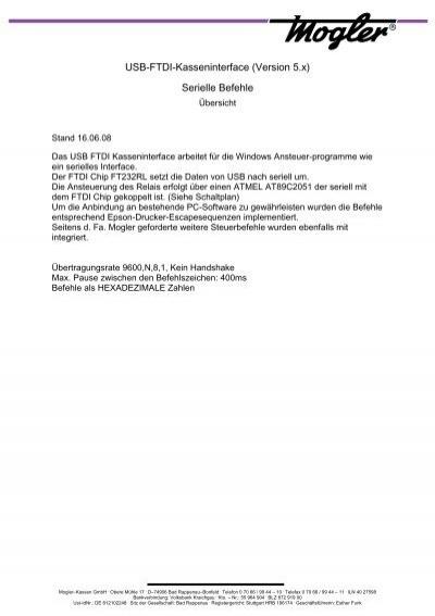 Übersicht Serielle Befehle für das USB-FTDI ... - Mogler-Kassen GmbH