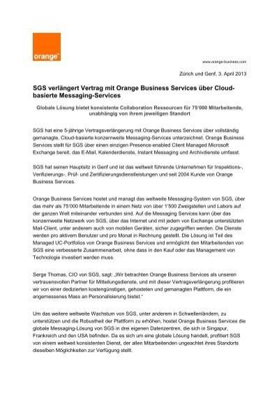 SGS verlängert Vertrag mit Orange Business Services über ...