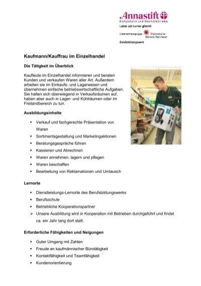 Kaufmann Einzelhandel - Berufsbildungswerk