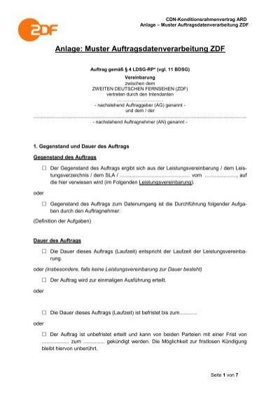 anlage muster auftragsdatenverarbeitung zdf wdrde - Auftragsdatenverarbeitung Muster