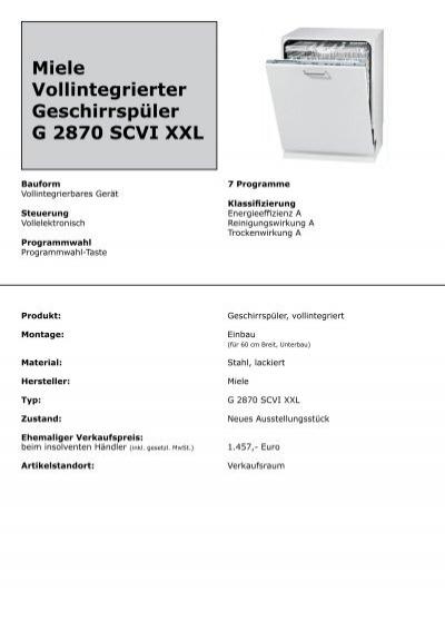 miele vollintegrierter geschirrsp ler g 2870 scvi xxl. Black Bedroom Furniture Sets. Home Design Ideas